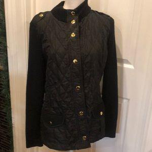Banana republic sweater coat Sz L black gld button